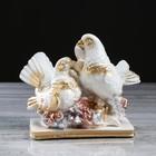 """Статуэтка """"Голуби"""", белая, золотистый декор, 16 см"""