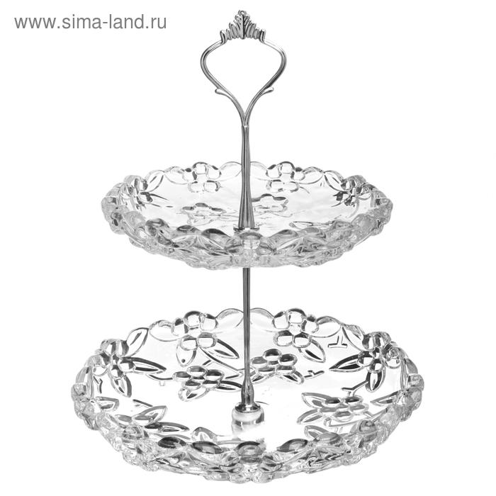 """Блюдо двухъярусное """"Венеция"""" (d=16 и 20 см), прозрачное"""