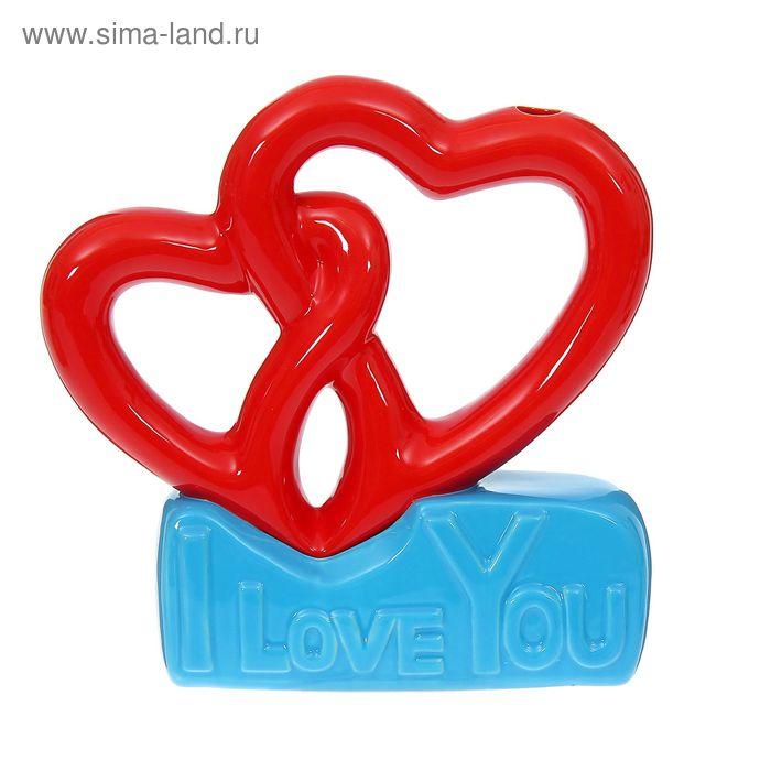 """Ваза """"Абстракция"""" красно-голубая, I LOVE YOU"""