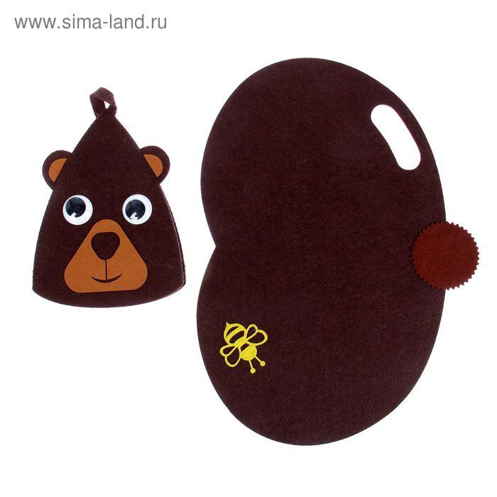 """Набор детский в баню """"Медвежонок"""", шапка и коврик"""