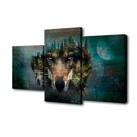 """Картина модульная на подрамнике """"Взгляд волка""""  26х50см; 26х40см; 26х32см     50*80см"""