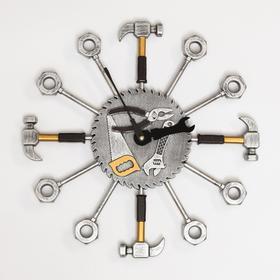 """Часы настенные, серия: Интерьер,""""Инструменты"""",плавный ход,37 х 37 см,d циферблата=16 см"""
