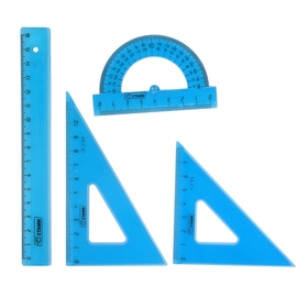 Набор геометрический малый: линейка 16 см, треугольник 7 см 45*, треугольник 10 см 30*, транспортир 8 см 180*, тонированный