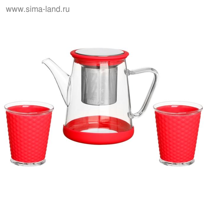 """Набор """"Воздух"""": чайник заварочный 800 мл, 2 стакана 200 мл с силиконовыми вставками, цвет красный"""