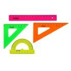 Набор геометрический малый: линейка 16 см, треугольник 7см 45*, треугольник 10 см 30*, транспортир 8см 180*. NEON