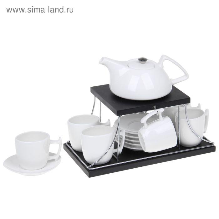 """Сервиз кофейный 13 предметов """"Эстет. Бизнес"""" на деревянной подставке: кружки 100 мл, чайник 600 мл"""
