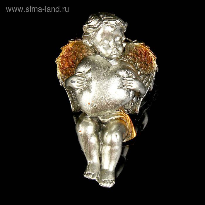 """Сувенир """"Спящий ангел с сердцем"""" под бронзу с золотыми крыльями МИКС"""