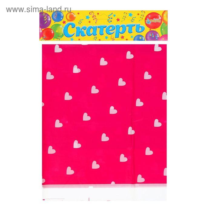 """Скатерть """"Сердечки"""" розовый цвет, 105х180 см"""
