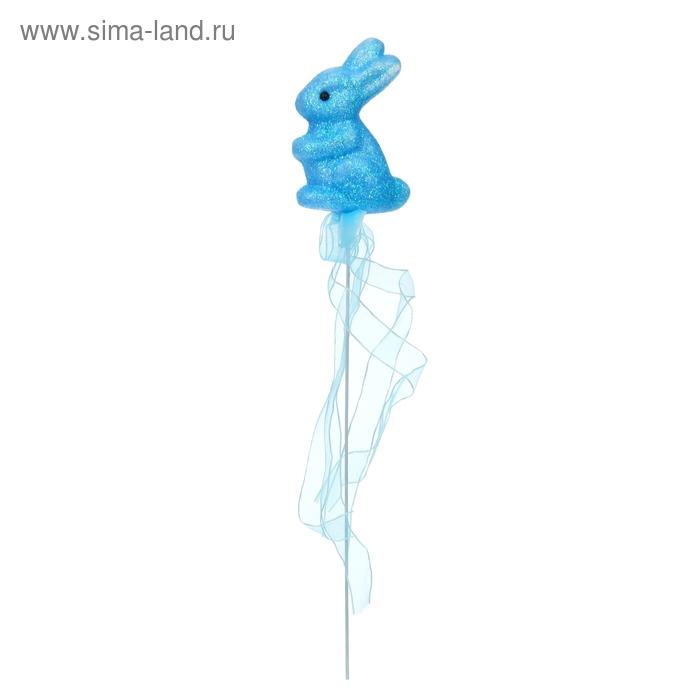 """Аксессуар на палочке """"Зайка"""" голубой цвет с лентой"""