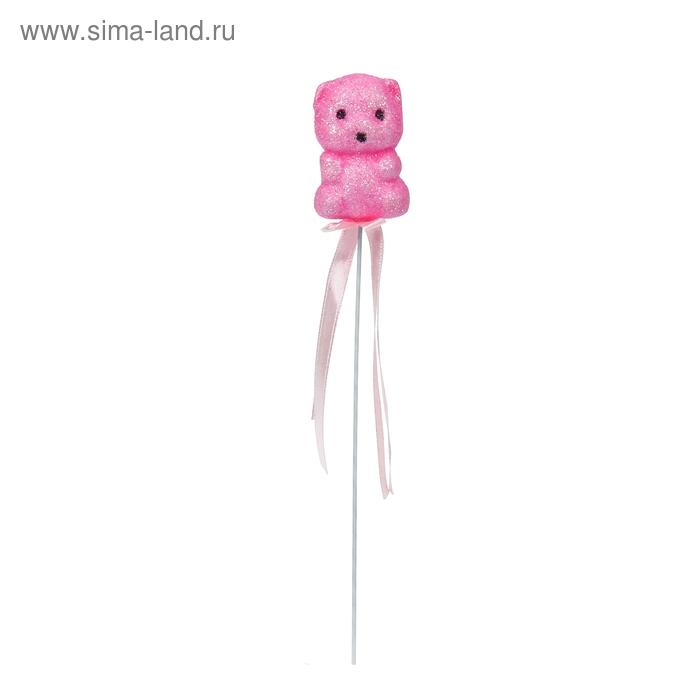 """Аксессуар на палочке """"Мишка"""" розовый цвет с лентой"""