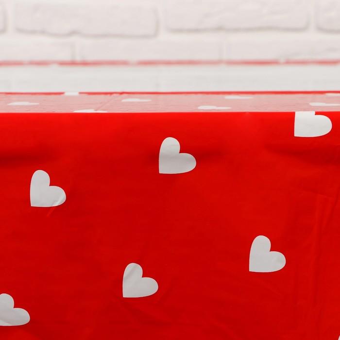 """Скатерть """"Сердечки"""" красный цвет, 105х180 см"""