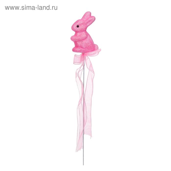 """Аксессуар на палочке """"Зайка"""" розовый цвет с лентой"""