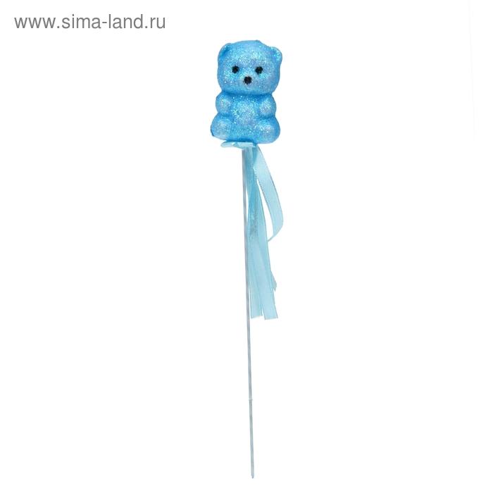 """Аксессуар на палочке """"Мишка"""" голубой цвет с лентой"""