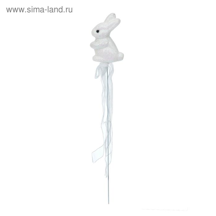 """Аксессуар на палочке """"Зайка"""" белый цвет с лентой"""