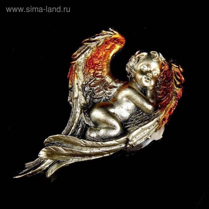 """Магнит """"Ангелочек спящий в крыльях"""" под бронзу с золотыми крыльями МИКС"""