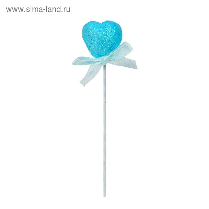 Сердце на палочке с бантиком, голубой цвет