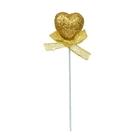 Сердце на палочке с бантиком, желтый цвет