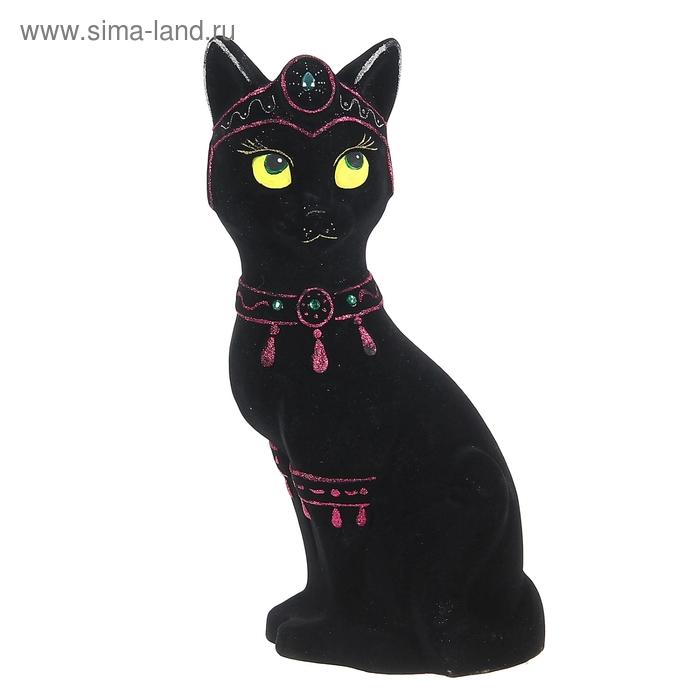"""Копилка """"Кошка-принцесса"""" флок, чёрная"""