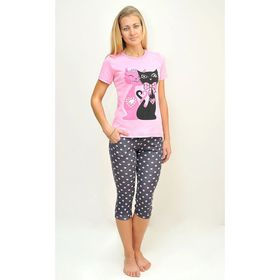 Комплект женский (футболка, бриджи) ТК-82БК, цвет микс, размер 54, кулирка