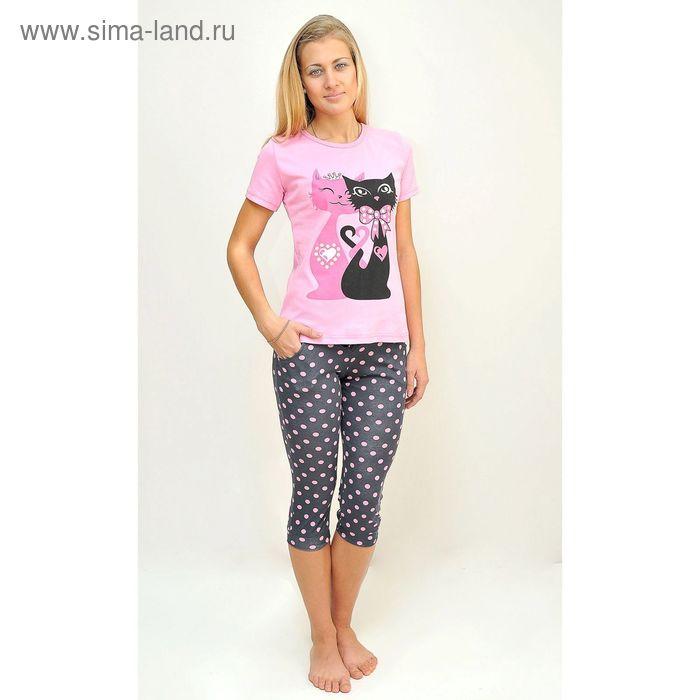 Комплект женский (футболка, бриджи) ТК-82БК, цвет микс, размер 56, кулирка