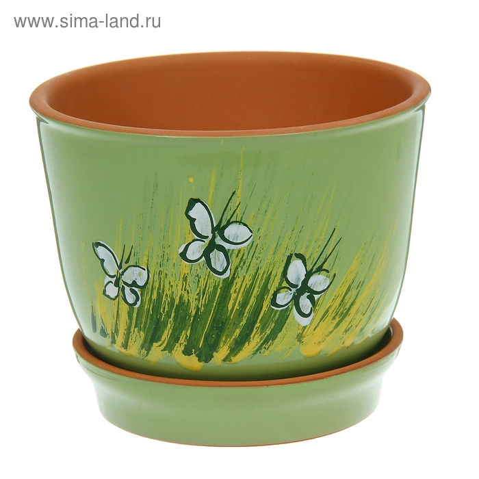 "Кашпо ""Агат"" зелёное, бабочки 1,5 л"