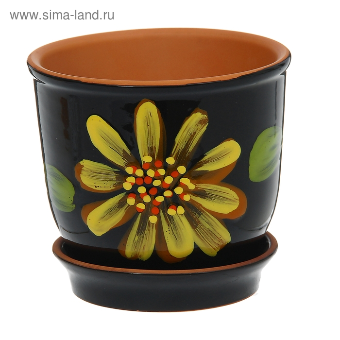 "Кашпо ""Агат"" чёрное, цветок 1 л"