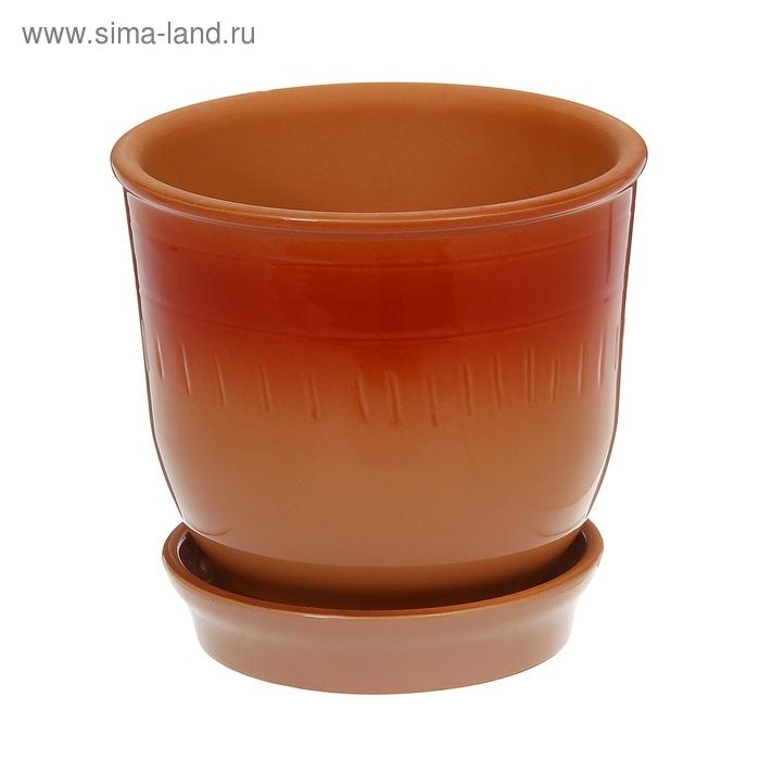 """Кашпо """"Агат"""" коричневое, красная поддувка 2 л"""