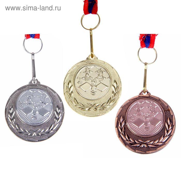 """Медаль тематическая 031 """"Шахматы"""" диам 4 см. Цвет бронз"""