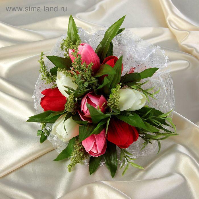 Букет-дублёр для невесты «Тюльпаны», бело-розовый