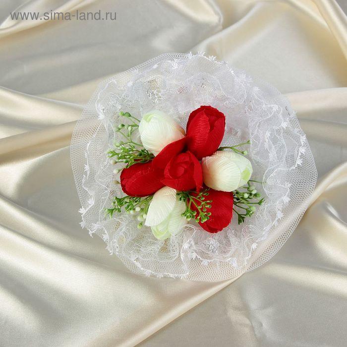 Дублер букета невесты с тюльпанами комбинирован 7 шт бело-красный