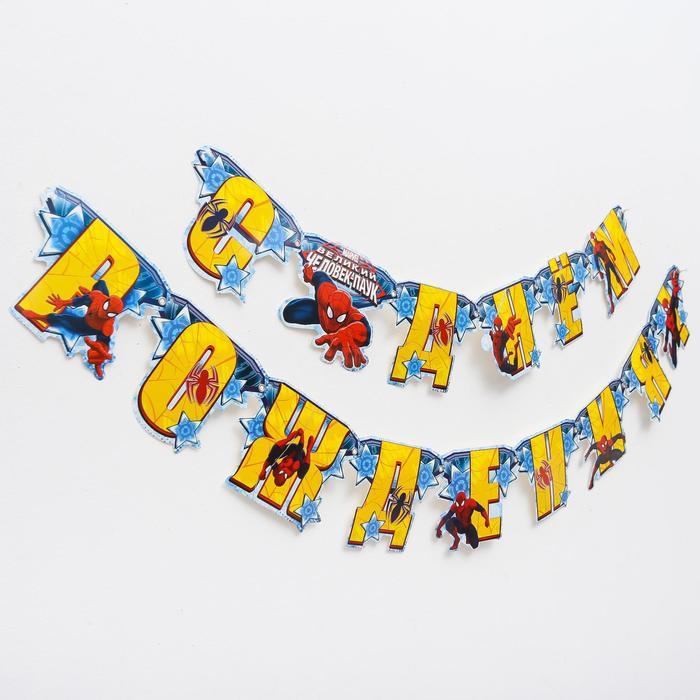 """Гирлянда на люверсах """"С Днем рождения!"""" Человек-паук"""