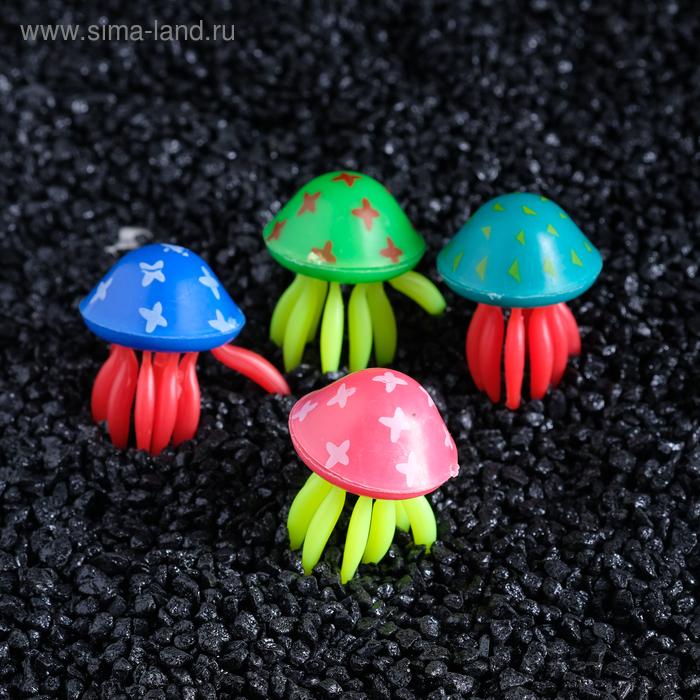 """Декор для аквариума """"Медузы"""", (набор 4 шт.), каждая 3 х 4 см, микс цветов"""
