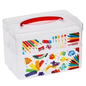 Ящик для игрушек с аппликацией ART BOX, 2 секции 2 + 3 л, с крышкой и ручкой, бесцветный Ош