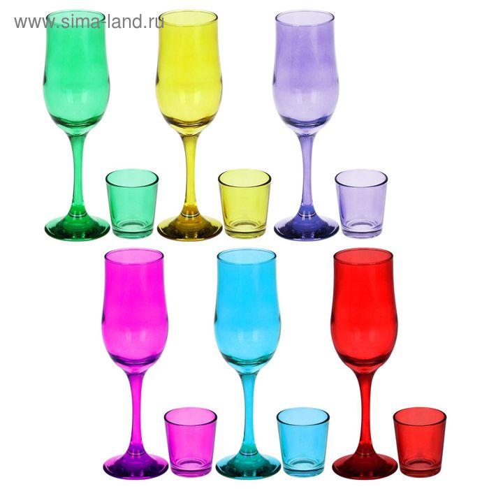 """Набор для шампанского """"Радуга"""", 12 предметов: 6 бокалов для шампанского 200 мл, 6 стопок 50 мл"""