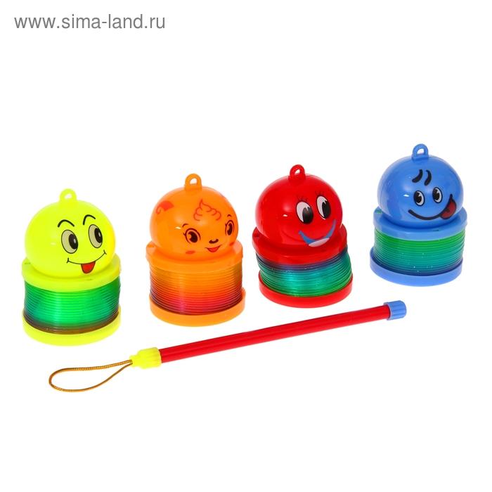 "Пружинка-радуга ""Мордашки на палочке"", с подсветкой, цвета МИКС"