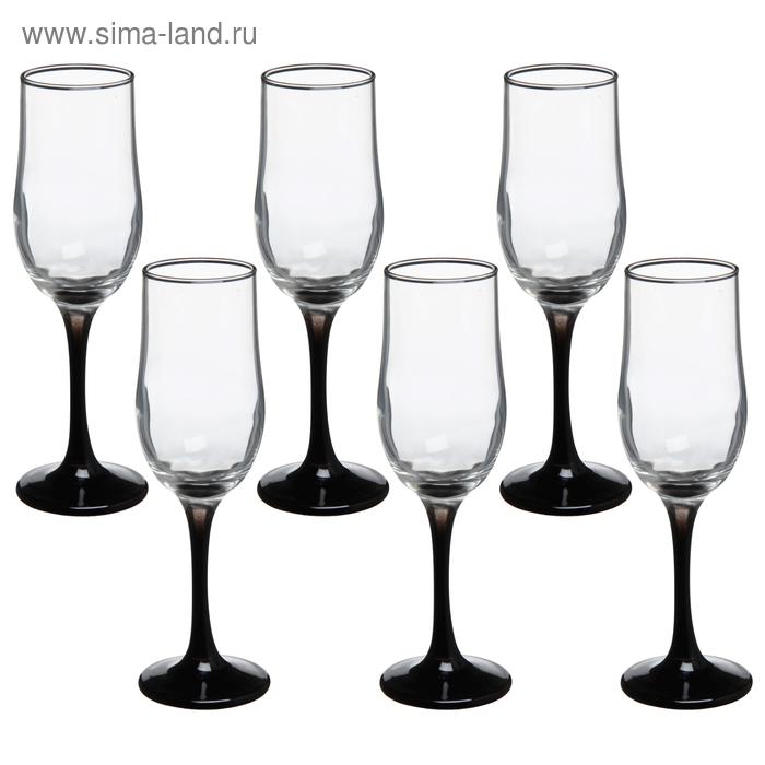 """Набор бокалов для шампанского 200 мл """"Черная ножка"""", 6 шт"""