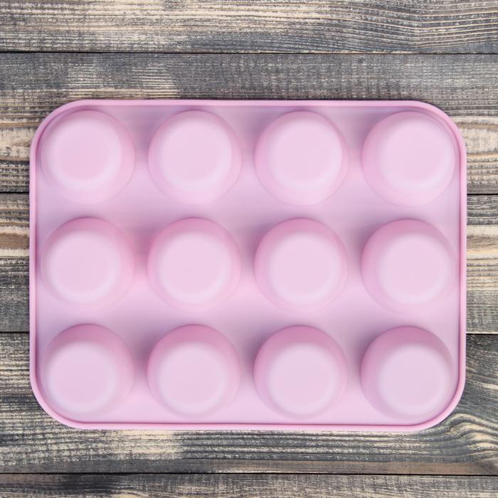 """Форма для выпечки """"Фигуры. Круг"""", 12 ячеек, цвета МИКС"""