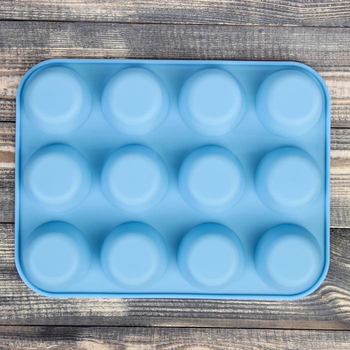 """Форма для выпечки """"Круг"""", 12 ячеек, цвета МИКС"""