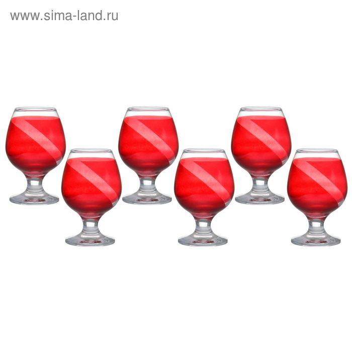 """Набор фужеров для коньяка """"Люкс"""", 6 шт 265 мл, цвет красный"""