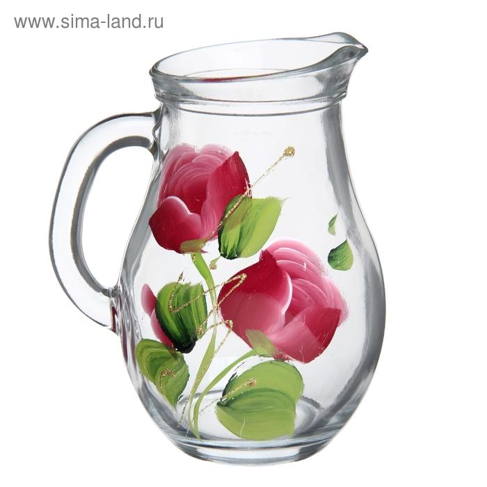 """Кувшин 500 мл """"Яркие тюльпаны"""", художественная роспись, рисунок МИКС"""
