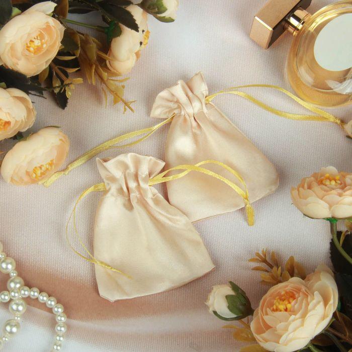 Мешочек подарочный универсальный, 7*9, атлас, цвет золотой