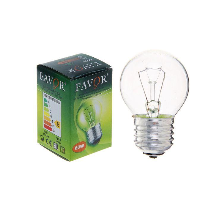 Лампа накаливания Favor ДШ, Е27, 60 Вт, 230 В