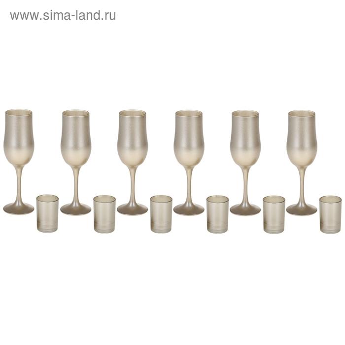 """Набор """"Люстр"""" 6 бокалов для шампанского 200 мл, 6 стопок 50 мл"""