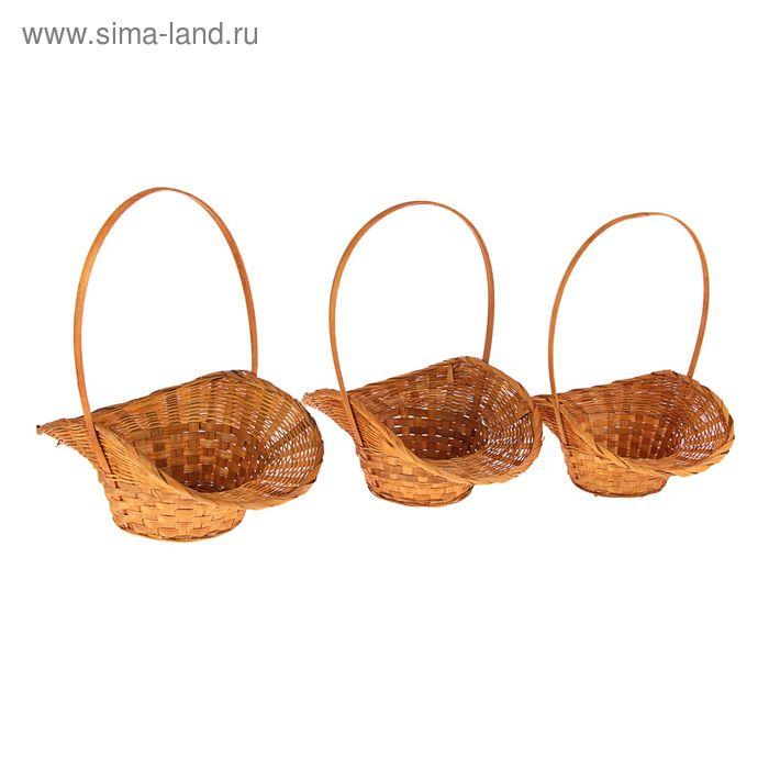 Набор корзин плетёных, бамбук, 3 шт., коричневые