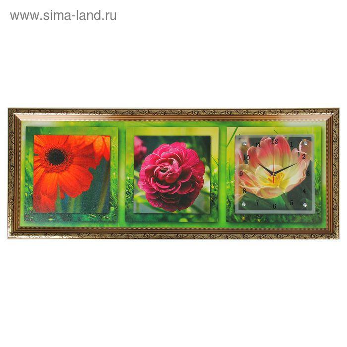 "Часы-картина настенные ""Яркие цветы"", микс 35х100 см"