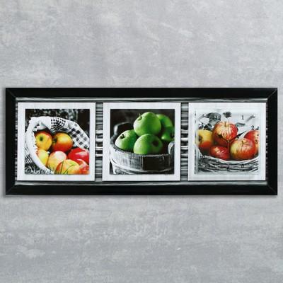 """Часы-картина настенные, серия: Кухня, """"Яблочный микс"""", 35х100  см, микс"""