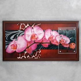 """Часы-картина настенные, серия: Цветы, """"Орхидеи на ветке"""", 50х100  см, микс"""