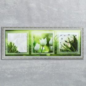 "Часы-картина настенные, серия: Цветы, ""Белые тюльпаны"", 35х100  см, микс"