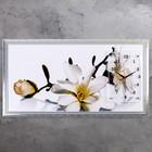 """Часы-картина настенные """"Ветка с цветами и почками"""", микс 50х100 см микс"""