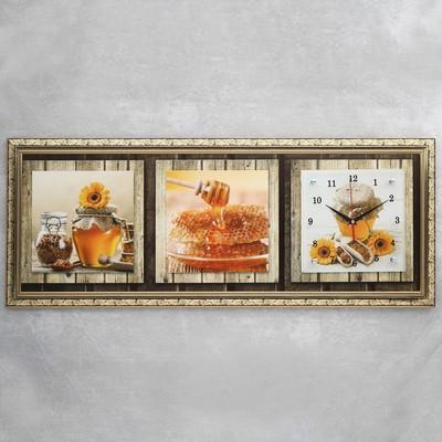 """Часы-картина настенные, серия: Кухня, """"Мед и кофе"""", микс 35х100 см"""
